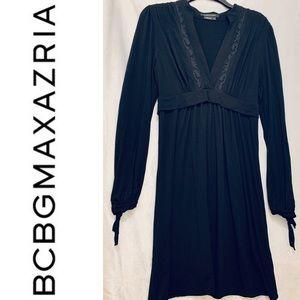 BCBGMAXAZRIA >NWOT! Slinky Black Lace Detail Dress